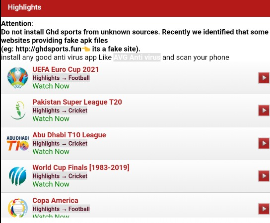 GHD Sports Screenshot